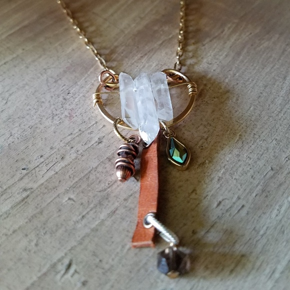 "Uniquely Handcrafted Jewelry - ""Balanced Beauty ""- Clear Quartz Bohemian Necklace"